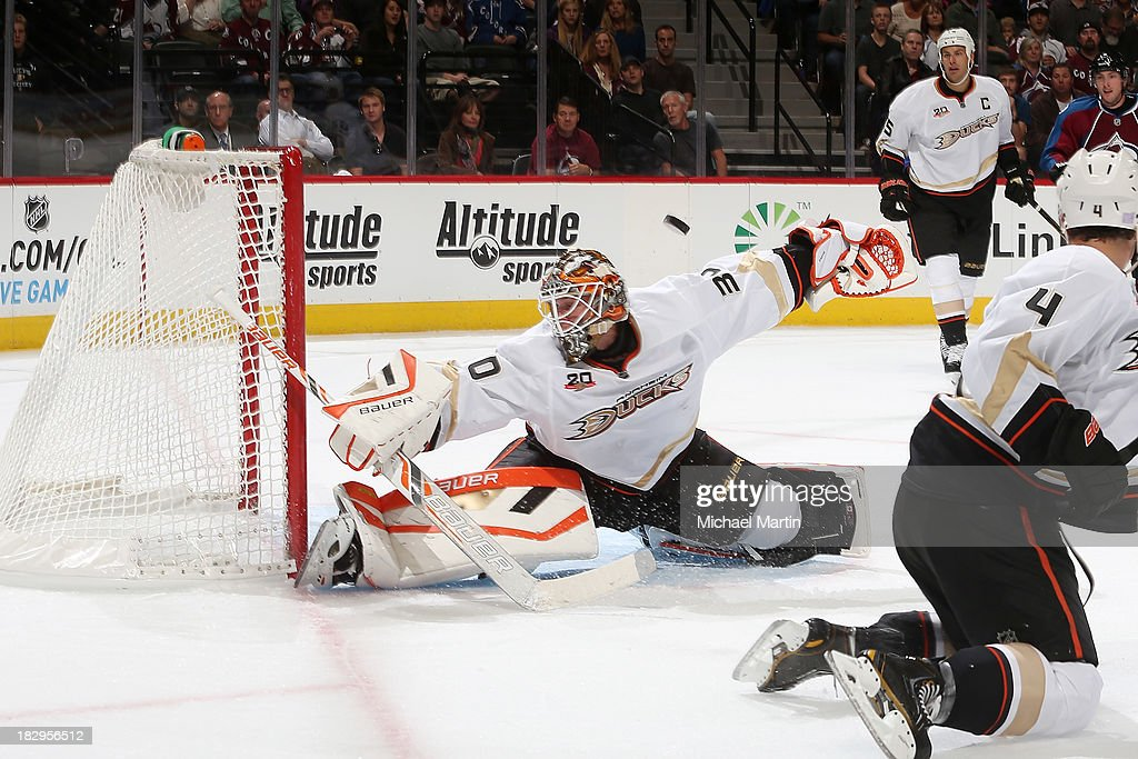 Goaltender Victor Fasth of the Anaheim Ducks makes a save against the Colorado Avalanche at the Pepsi Center on October 2 2013 in Denver Colorado
