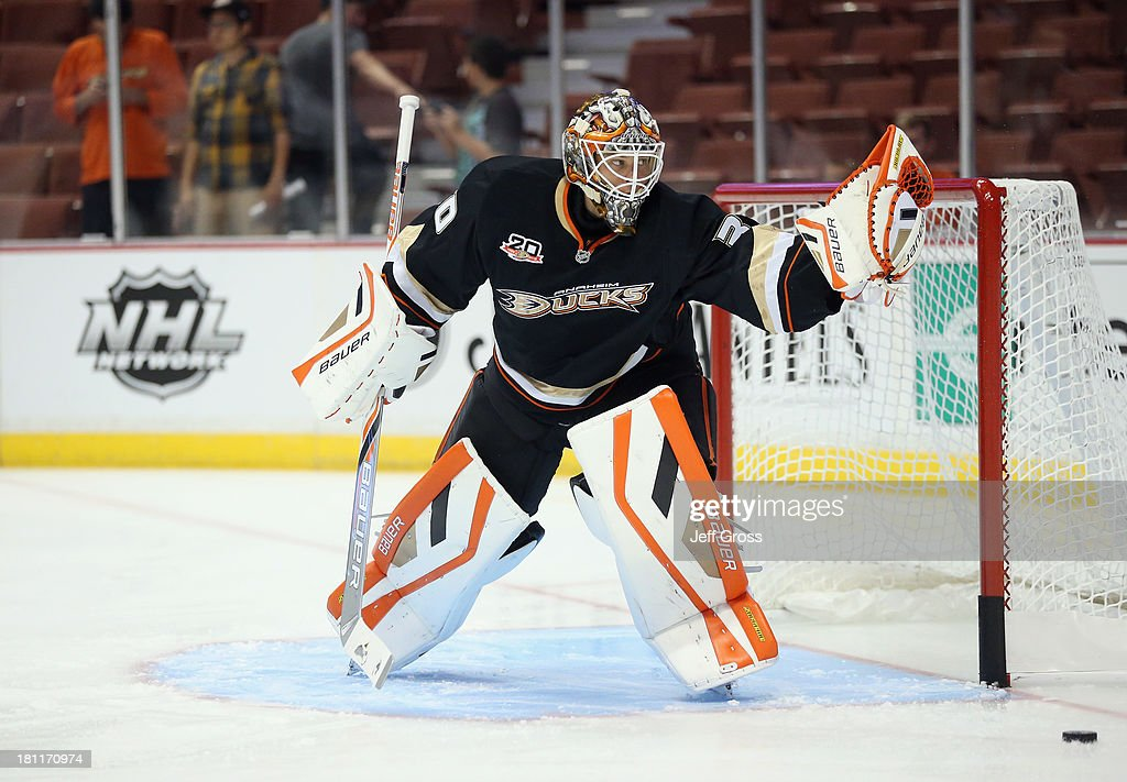 Goaltender Viktor Fasth #30 of the Anaheim Ducks defends his net prior to the start of the game against the Los Angeles Kings at Honda Center on September 17, 2013 in Anaheim, California.