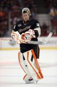 Goaltender Viktor Fasth of the Anaheim Ducks looks on against the Los Angeles Kings at Honda Center on September 17 2013 in Anaheim California