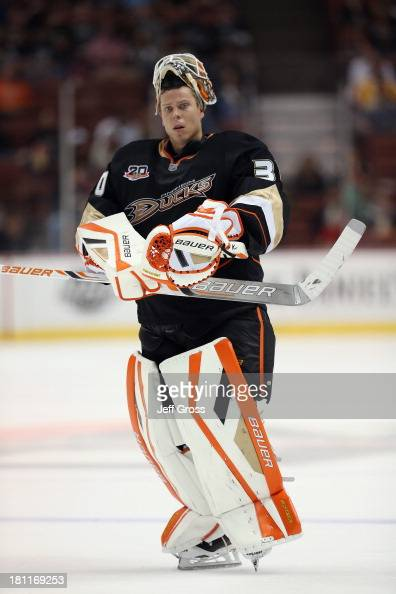 Goaltender Viktor Fasth of the Anaheim Ducks looks on against the Los Angeles Kings at Honda Center on September 17 2013 in Anaheim California