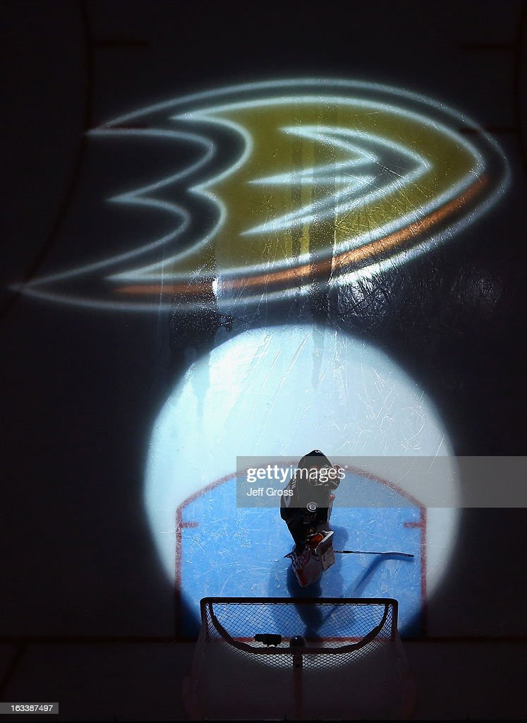 Goaltender Viktor Fasth #30 of the Ducks looks on prior to the start of the game against the Calgary Flames at Honda Center on March 8, 2013 in Anaheim, California. The Ducks defeated the Flames 4-0.
