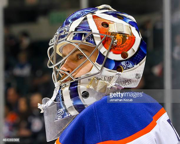 Goaltender Viktor Fasth of the Edmonton Oilers looks on during the pregame warm up prior to NHL action against the Winnipeg Jets on February 16 2015...