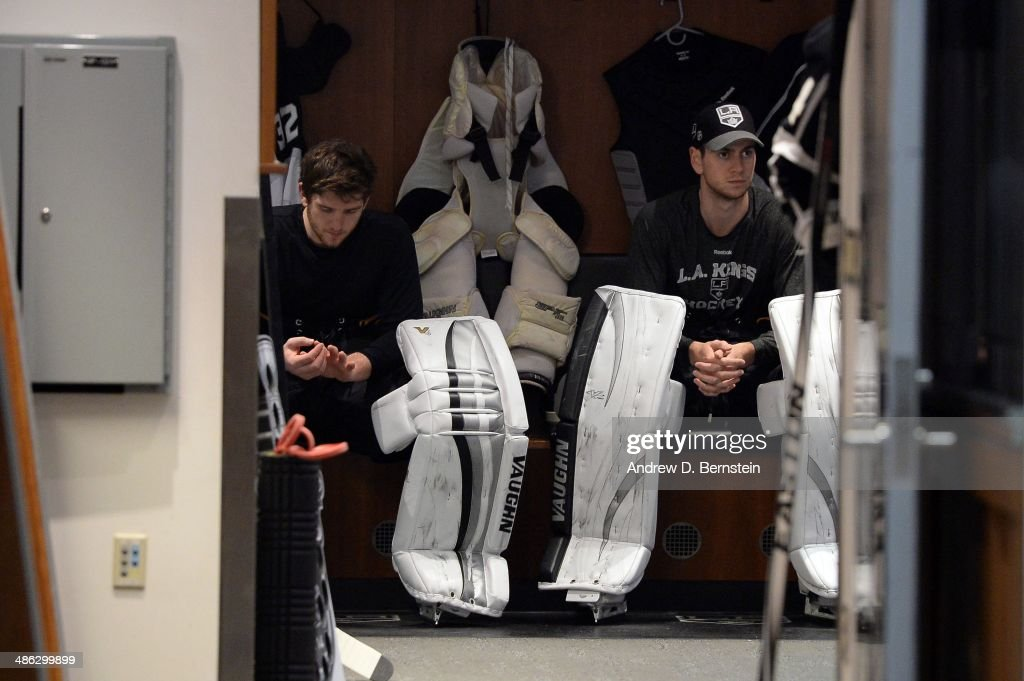 Goaltenders Jonathan Quick and Martin Jones of the Los Angeles Kings sit in the locker room before facing the San Jose Sharks in Game Three of the...
