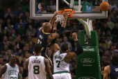 Goaltending was called on Boston Celtics power forward Jared Sullinger as Indiana Pacers power forward David West spends some time hanging out on the...
