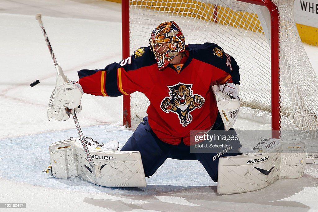 Goaltenter Jacob Markstrom #35 of the Florida Panthers defends the net against the Winnipeg Jets at the BB&T Center on March 5, 2013 in Sunrise, Florida.