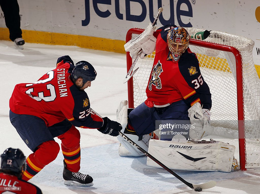 Goaltenter Jacob Markstrom #35 of the Florida Panthers defends the net with the help of teammate Tyson Strachan #23 against the Winnipeg Jets at the BB&T Center on March 5, 2013 in Sunrise, Florida.