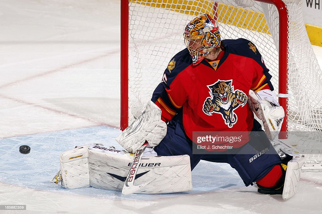 Goaltenter <a gi-track='captionPersonalityLinkClicked' href=/galleries/search?phrase=Jacob+Markstrom&family=editorial&specificpeople=5370948 ng-click='$event.stopPropagation()'>Jacob Markstrom</a> #35 of the Florida Panthers defends the net against the Washington Capitals at the BB&T Center on April 6, 2013 in Sunrise, Florida.
