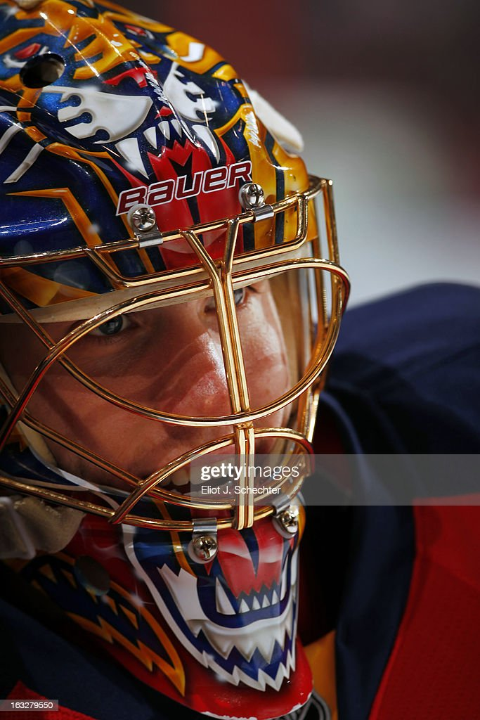 Goaltenter Jacob Markstrom #35 of the Florida Panthers on the ice prior to the start of the game against the Winnipeg Jets at the BB&T Center on March 5, 2013 in Sunrise, Florida.