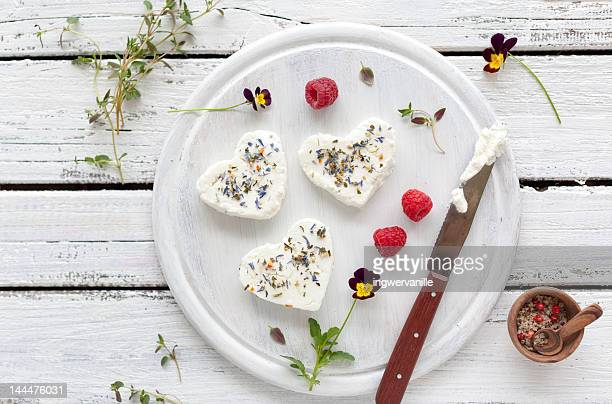 Goat cheese with herbs and raspberries