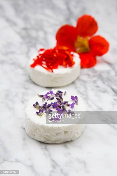 Goat cheese with nasturtium on marble