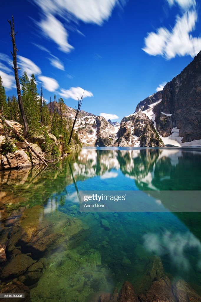 Goat Lake in Idaho's Sawtooth Mountains outside Stanley, long exposure on summer afternoon