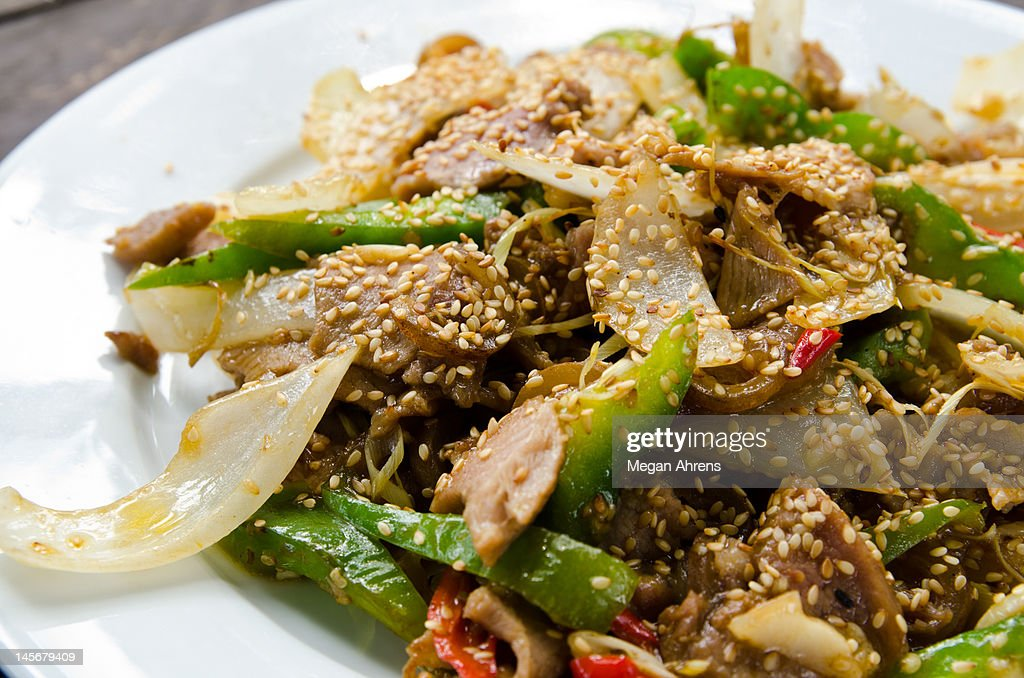 Goat meat stir-fry : Stock Photo