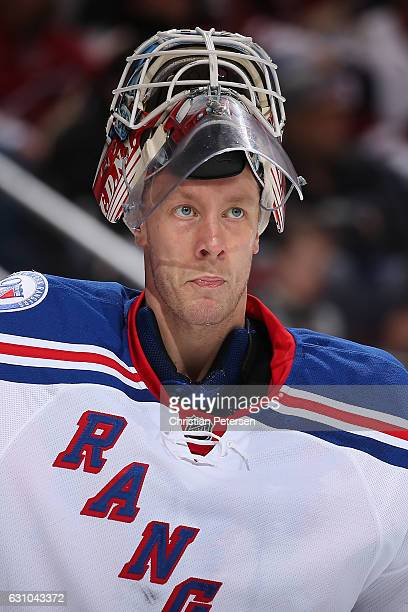 Goatlender Antti Raanta of the New York Rangers during a break from the NHL game against the Arizona Coyotes at Gila River Arena on December 29 2016...