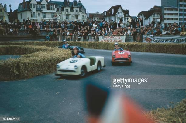 A gocart track with a sign reading 'Automobile Club du Nord de la France' northern France circa 1970