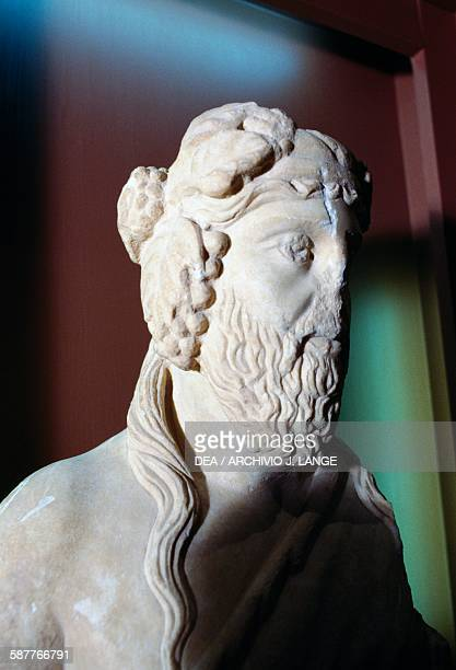 God Dionysus marble bust in Attic style from Drama region Macedonia Greece Greek civilisation 6th5th century BC Drama Archaeological Museum