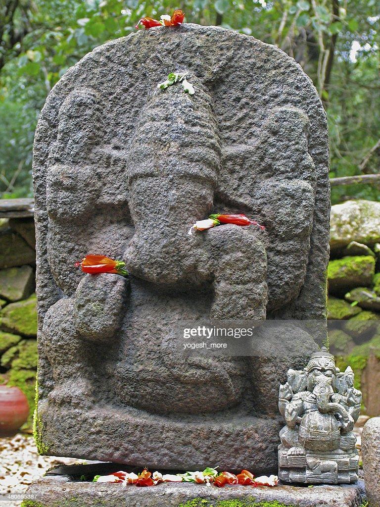 God gajanana at Papanashini river. Bhramagiri hills, Wayanad, Kerala, India : Stock Photo