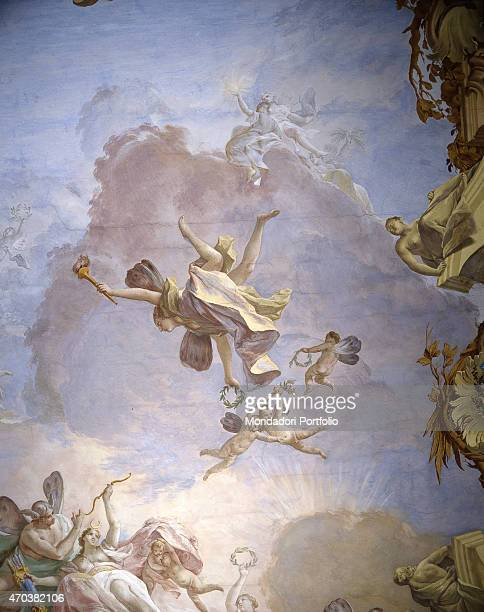 'God of Olympus by Jacopo Guarana 18th century fresco Italy Veneto Valnogaredo Villa Contarini Rota Detail A winged figure with laurel crown and...