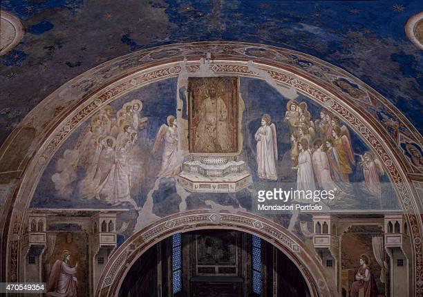 'God sending the Archangel Gabriel by Giotto 13031305 14th Century fresco Italy Veneto Padua Scrovegni Chapel After restoration picture Whole artwork...