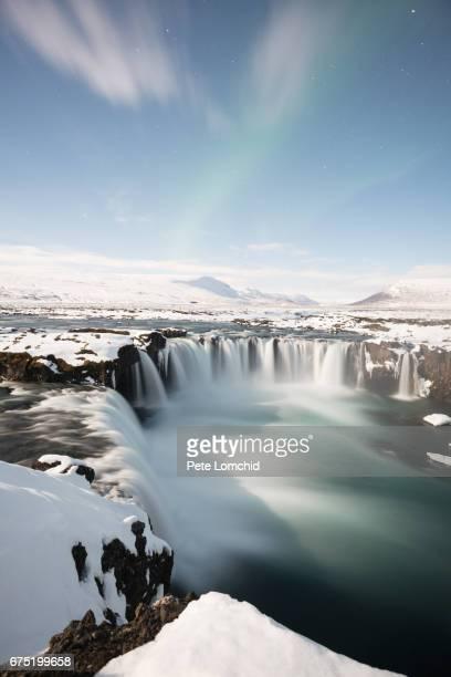 godafoss aurora iceland winter