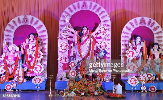 Goddess Durga idol during Durga Puja celebration, Delhi, India : Stock Photo
