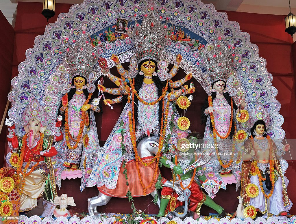 Goddess Durga idol during Durga Puja celebration, Delhi, India : Stock Photo