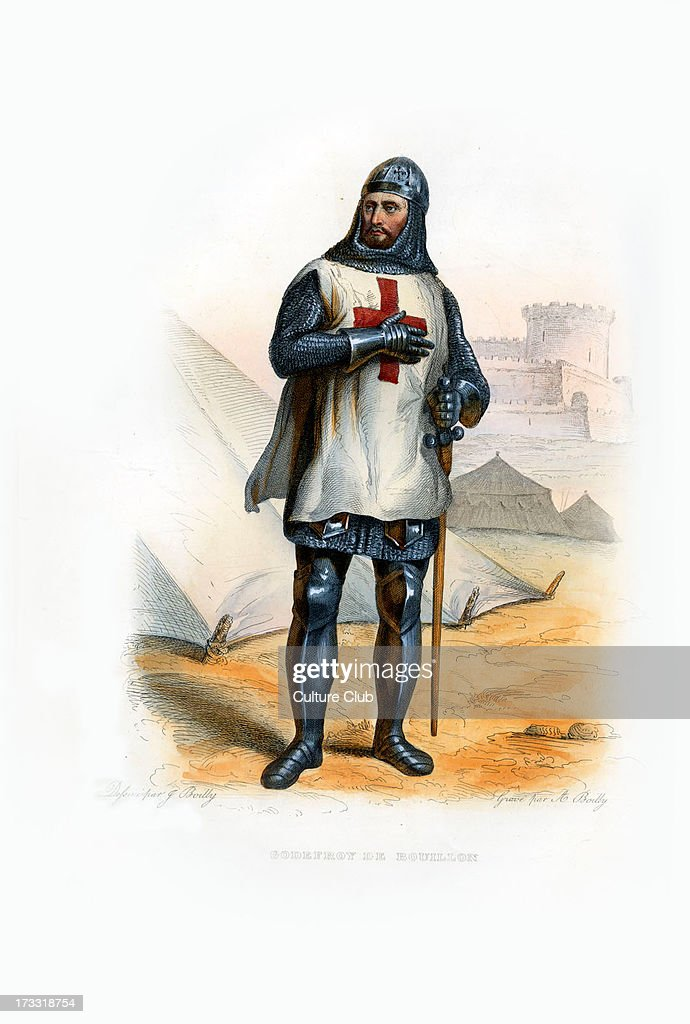 Godefroy of Bouillon Medieval Frankish knight who was one of the leaders of the First Crusade from 1096 until his death c 1060 18 July 1100 Engraving...