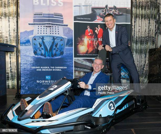 Godfather Elvis Duran and Andy Stuart attend celebration of Norwegian Cruise Line newest ship Bliss at PND lounge The Dream Downtown