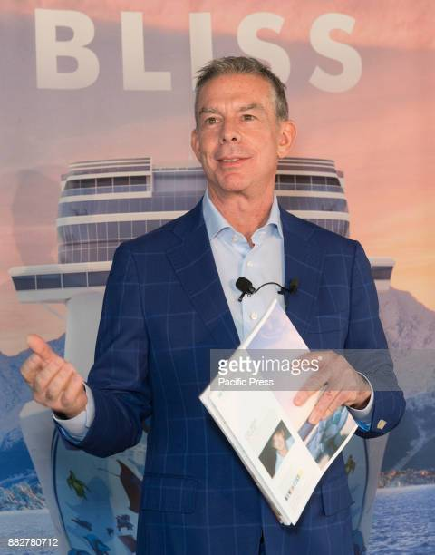 Godfather Elvis Duran speaks during celebration of Norwegian Cruise Line newest ship Bliss at PND lounge The Dream Downtown