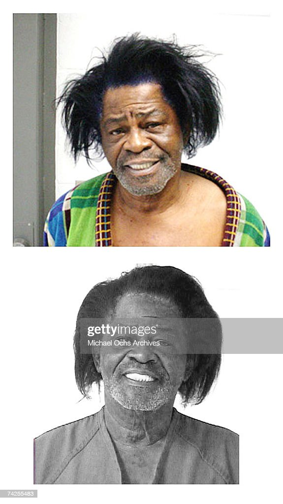 'Godfather of Soul' James Brown poses for a mug shot after being charged with domestic violence in 2004 in Aiken Country, South Carolina.