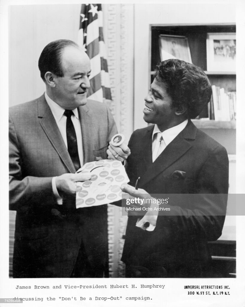 'Godfather of Soul' James Brown visits with US vice president Hubert H. Humphery at his office to discuss Brown's 'Don't Be A Dropout' campaign to get kids to stay in school in 1967 in Washington, D.C.