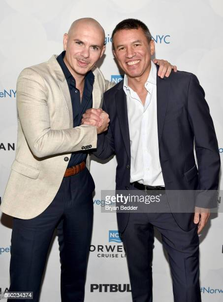 Godfather Pitbull and President and CEO of Norwegian Cruise Line Andy Stuart attend Norwegian Escape heads to NYC event with at PHD at the Dream...