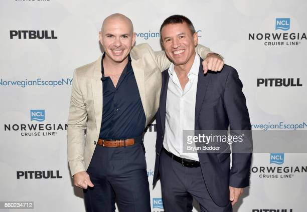Godfather Pitbull and President and CEO of Norwegian Cruise Line Andy Stuart attend Norwegian Escape heads to NYC event at PHD at the Dream Downtown...