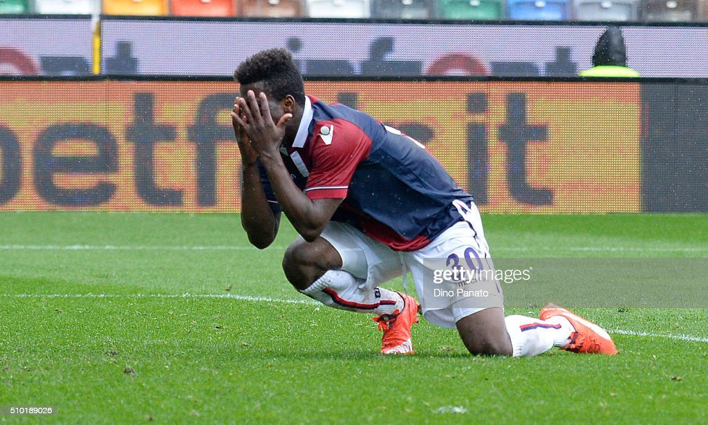 Godferd Donsa of Bologna FC shows his dejection during the Serie A match between Udinese Calcio and Bologna FC at Stadio Friuli on February 14, 2016 in Udine, Italy.