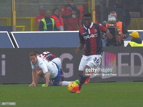 Godfred Donsah of Bologna FC in action during the Serie A match between Bologna FC and UC Sampdoria at Stadio Renato Dall'Ara on January 31 2016 in...