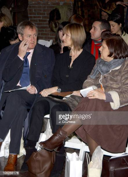 Godfrey Deeny Jane Cattani and Suzy Menkes during Olympus Fashion Week Fall 2004 Sebastian Pons Front Row at Angel Orensanz Foundation in New York...