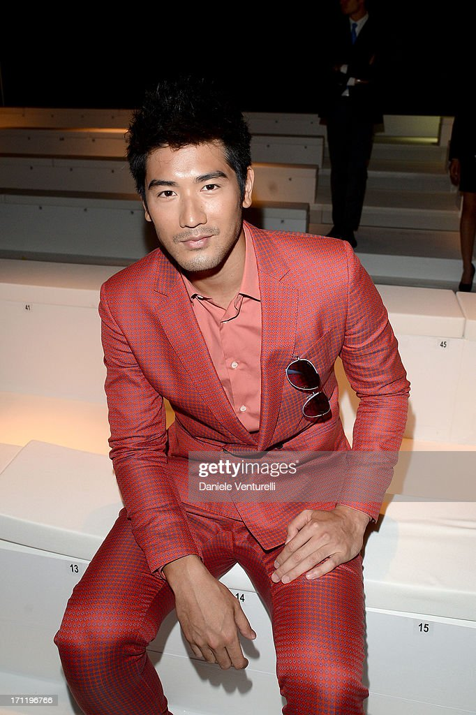 <a gi-track='captionPersonalityLinkClicked' href=/galleries/search?phrase=Godfrey+Gao&family=editorial&specificpeople=5872168 ng-click='$event.stopPropagation()'>Godfrey Gao</a> attends the 'Salvatore Ferragamo' show as part of Milan Fashion Week Spring/Summer 2014 on June 23, 2013 in Milan, Italy.
