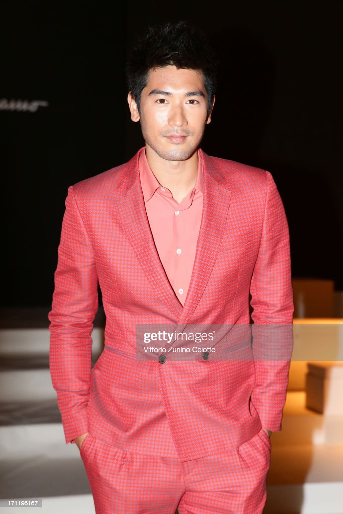 Godfrey Gao attends the Salvatore Ferragamo show during Milan Menswear Fashion Week Spring Summer 2014 on June 23, 2013 in Milan, Italy.