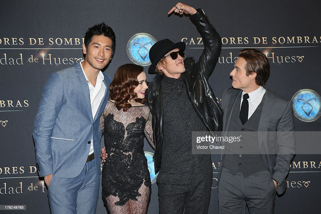 Godfrey Gao, Lily Collins, Jamie Campbell Bower and Kevin Zegers attend The Mortal Instruments: City of Bones' Mexico City screening at Auditorio Nacional on August 27, 2013 in Mexico City, Mexico.