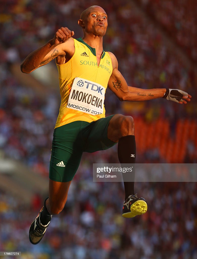 <a gi-track='captionPersonalityLinkClicked' href=/galleries/search?phrase=Godfrey+Khotso+Mokoena&family=editorial&specificpeople=2288523 ng-click='$event.stopPropagation()'>Godfrey Khotso Mokoena</a> of South Africa competes in the Men's Long Jump final during Day Seven of the 14th IAAF World Athletics Championships Moscow 2013 at Luzhniki Stadium at Luzhniki Stadium on August 16, 2013 in Moscow, Russia.