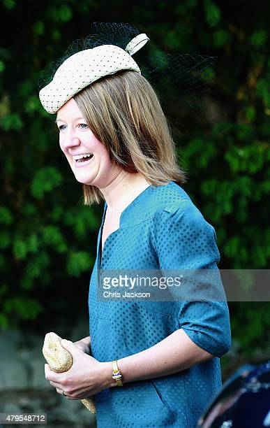 Godmother Laura Fellowes arrives at the Church of St Mary Magdalene on the Sandringham Estate for the Christening of Princess Charlotte of Cambridge...