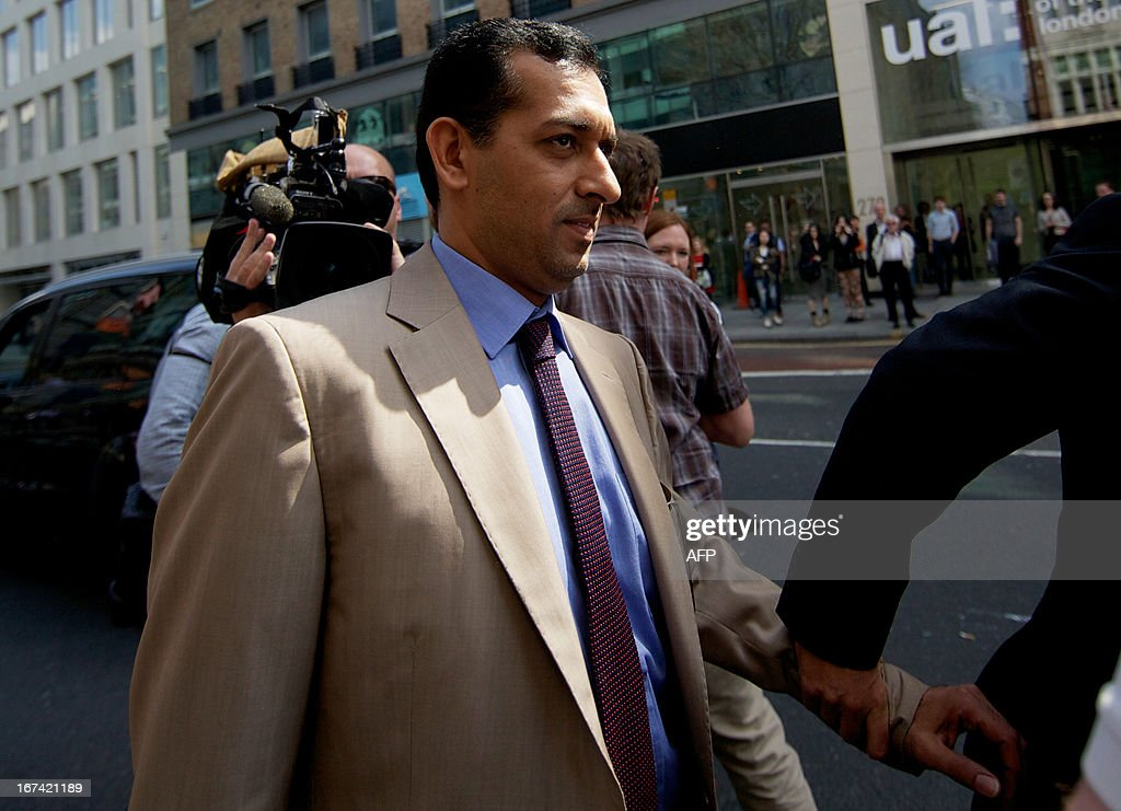 Godolphin trainer Mahmood al-Zarooni arrives for a disciplinary hearing at the British Horseracing Authority (BHA) in London on April 25, 2013. Zarooni has been charged with doping violations after 11 of his horses were found to have traces of banned anabolic steroids, the BHA said. Godolphin, owned by Dubai ruler Sheikh Mohammed bin Rashid al-Maktoum, has ordered a full internal investigation and said it was a 'dark day' in their history.