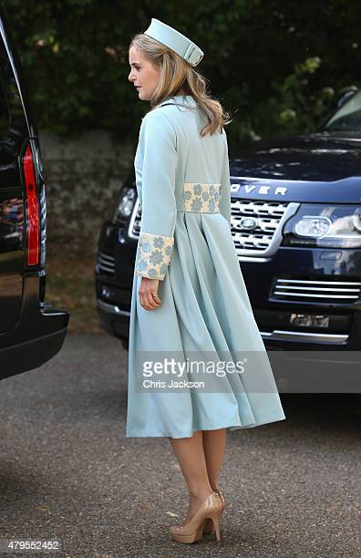 Godparent Sophie Carter arrives at the Church of St Mary Magdalene on the Sandringham Estate for the Christening of Princess Charlotte of Cambridge...