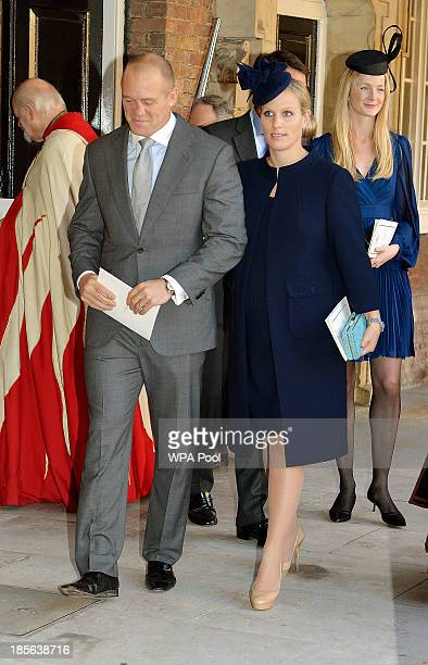 Godparent Zara Philips and husband Mike Tindall leave the Chapel Royal in St James's Palace after the christening of the three monthold Prince George...