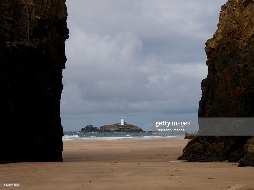 Godrevy lighthouse from the beach at Gwithian Cornwall UK