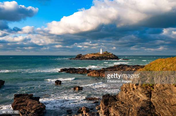 Godrevy lighthouse near Hayle in Cornwall England UK this the lighthouse that inspired the author Virginia Woolf to write her novel ñ To The...