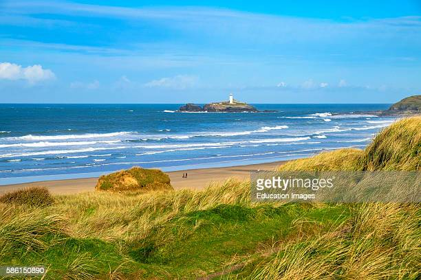 Godrevy Lighthouse Of The Coast Of Gwithian In Cornwall Uk