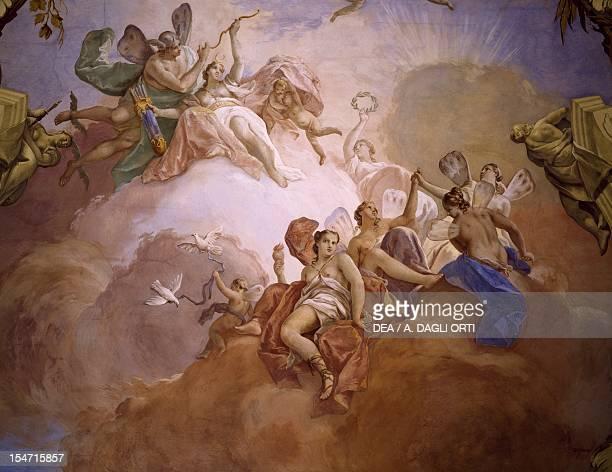 Gods of Olympia by Jacopo Guarana fresco central hall ceiling Villa Contarini Valnogaredo Cinto Euganeo Veneto Detail Italy 18th century