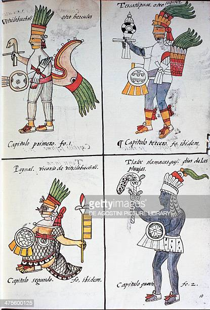 Gods of the ancient Mexicans Huitzilopochtli Tezcatlipoca Tlaloc and Paynal text in Spanish from the facsimile of the manuscript General History of...