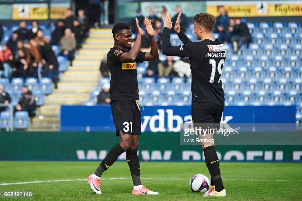Godsway Donyoh and Marcus Ingvartsen of FC Nordsjalland celebrate after scoring their third goal during the Danish Alka Superliga match between...