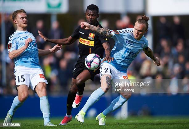Godsway Donyoh of FC Nordsjalland and Pierre Kanstrup of Sonderjyske compete for the ball during the Danish Alka Superliga match between Sonderjyske...